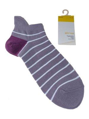 Женские носки в полоску с высокой пяткой, цвет сиреневый