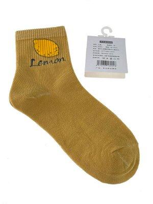 Женские носки с высокой резинкой, принтом и надписью, цвет горчичный