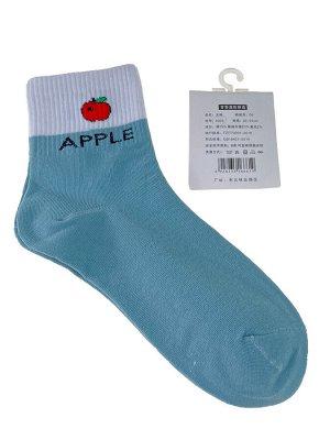 Женские носки с высокой резинкой, надписью и принтом, цвет бирюзовый