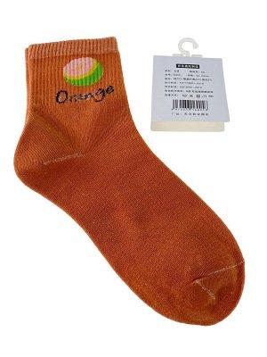 Женские носки с высокой резинкой, принтом и надписью, цвет оранжевый