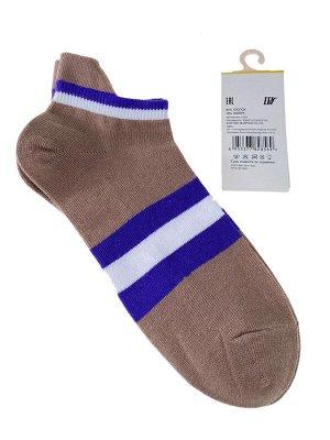 Женские носки в полоску с высокой пяткой, цвет светло-коричневый