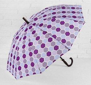 Зонт - трость полуавтоматический, 10 спиц, R = 51 см, цвет фиолетовый