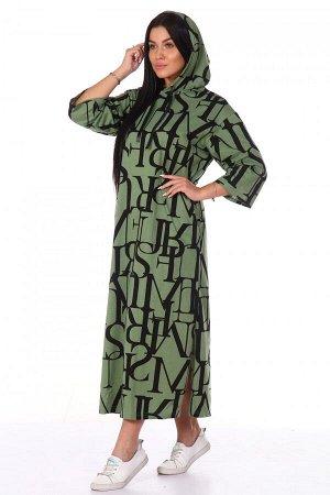 Платье Ткань: Кулирка; Состав: 100% хлопок; Размеры: 52, 54, 56, 58, 60, 62; Цвет: Зелёный