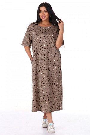 Платье Ткань: Кулирка; Состав: 100% хлопок; Размеры: 52, 54, 56, 58, 60, 62; Цвет: Коричневый