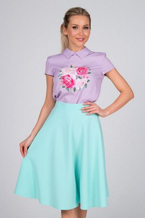 Блузка Лариса №23.Цвет:сиреневый/цветы