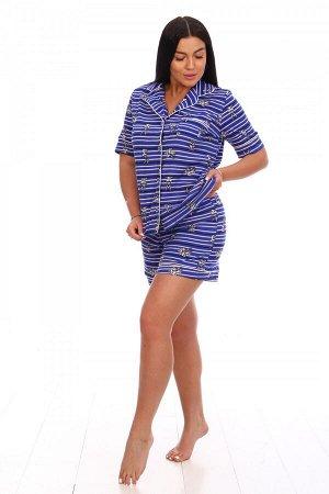 Пижама Ткань: Кулирка; Состав: 100% хлопок; Размеры: 42, 44, 46, 48, 50, 52; Цвет: Синий
