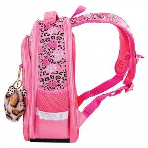 "Ранец BRAUBERG QUADRO, 3 отделения, с брелком, ""Pink leopard"", 37х28х18 см, 229950"