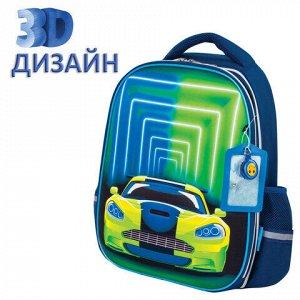 """Ранец ЮНЛАНДИЯ LIGHT, 2 отделения, """"Neon car"""", 3D панель, 38х29х16 см, 229917"""