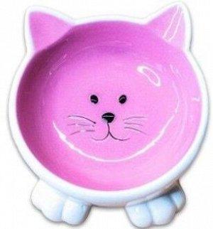 КерамикАрт миска керамическая Мордочка кошки на ножках 100 мл, розовая