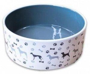 КерамикАрт миска керамическая для собак рисунком 350мл, серая