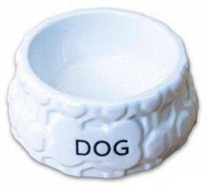 КерамикАрт миска керамическая для собак 200 мл, DOG белая