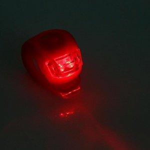 Фонарь велосипедный, батарейки CR 2032 2 шт, 3 режима, 2 LED, микс