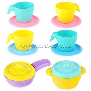 Набор посуды: Кастрюля + Сковорода + 2 крышки, 4 чашки и 4 блюдца