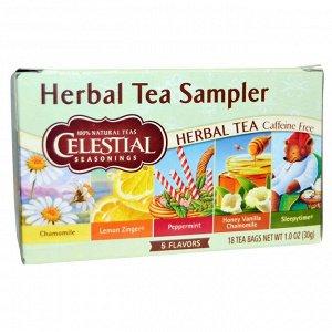 Celestial Seasonings, набор травяных чаев, без кофеина, 5 вкусов, 18 чайных пакетиков, 30 г (1,0 унция)