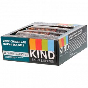 KIND Bars, Nuts & Spices, батончики из темного шоколада с орехами и морской солью, 12 батончиков по 40 г
