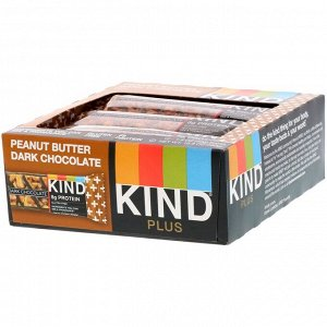 KIND Bars, Kind Plus, батончик из темного шоколада с арахисовой пастой, 12 батончиков по 40 г (1,4 унции)