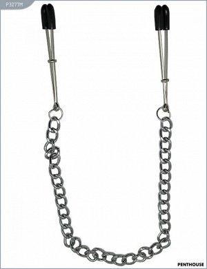 Зажимы для груди с серебристой цепочкой