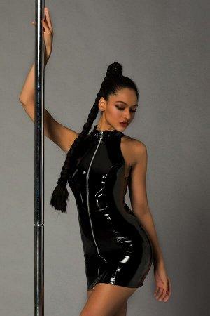 Черное лаковое платье на молнии Ariana