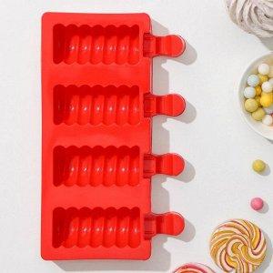 Форма для леденцов и мороженого «Моника», 19,5?11 см, 4 ячейки (6,7?3,2 см), цвет МИКС