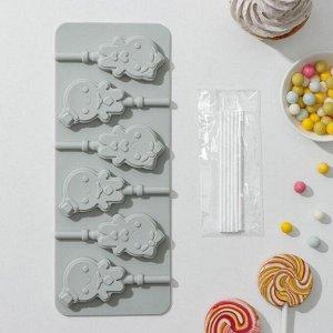 Форма для леденцов и мороженого Доляна «Девочка, мальчик», 24?9,5 см, 6 ячеек, с палочками, цвет МИКС