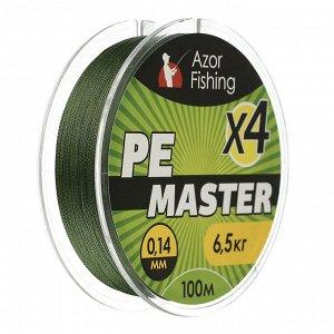 Леска плетеная AZOR FISHING PE Мастер, 0,14мм, 100м, 6,5 кг, зеленая