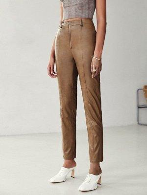 Zipper Up PU Leather Pants