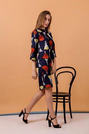 Костюм юбка+блузка К 1002 (Т.синий)