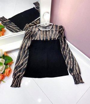Блузка Ткань Турецкий Шифон + трикотаж