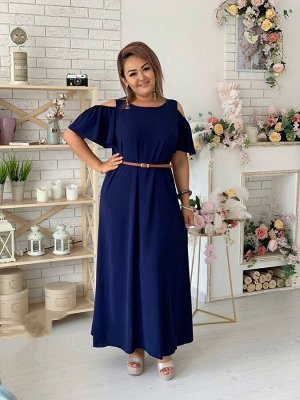 Платье Стильный ремешок в комплекте Длина изделия 141 см Ткань Сингапур жатка