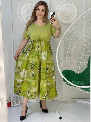 Платье Длина изделия 124 см  Объем груди 52 р 114 см 56 р 118 см 58 р 122 см 60 р 126 см Ткань трикотаж и хлопок, рабочие карманы