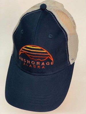Бейсболка Бейсболка Alaska темно-синего цвета с белой сеткой  №30148