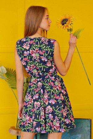 Платье с юбкой солнце П 284 (Розовые цветы)