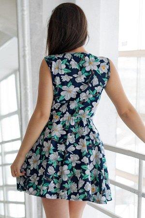 Платье с юбкой солнце П 284 (Белые цветы)