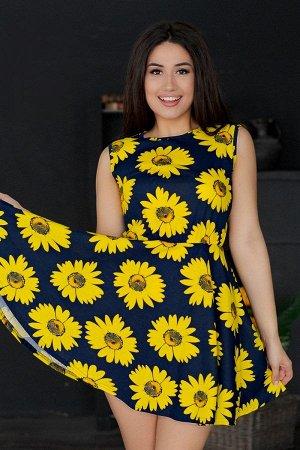 Платье с юбкой солнце П 284 (Подсолнухи)