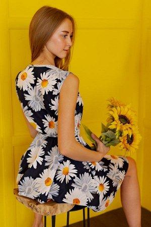 Платье с юбкой солнце П 284 (Ромашки)