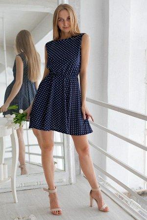 Платье с юбкой солнце П 284 (Горох на синем)