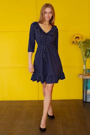 Платье с рюшами П 051 (Горох на синем)