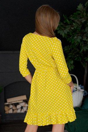 Платье с рюшами П 051 (Горох на желтом)