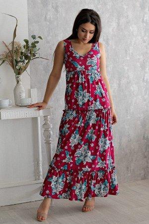 Платье П 148 (Бирюзовые цветы)