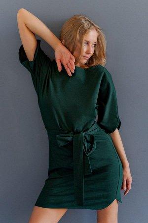 Платье с поясом П 226 (Еловый)