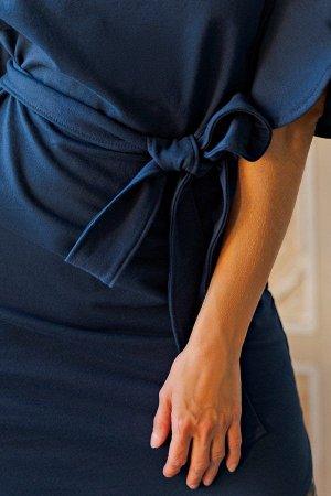 Платье с поясом П 226 (Индиго)