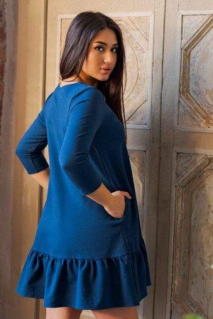Платье с воланом П 175 (Индиго)