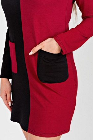 Платье-комбинация П 279 (Бордовое с черным)