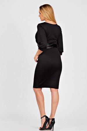 Платье-миди с кожаным поясом П 182 (Черный)