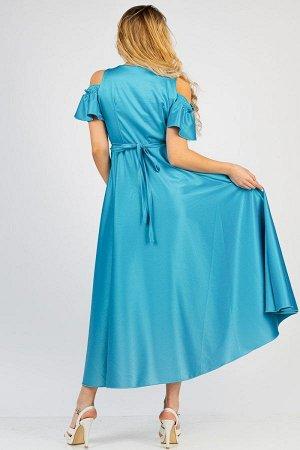 Длинное, атласное платье П 209 (Бирюза)