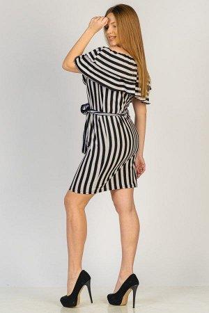 Платье с воланом П 274 (Черная полоса)