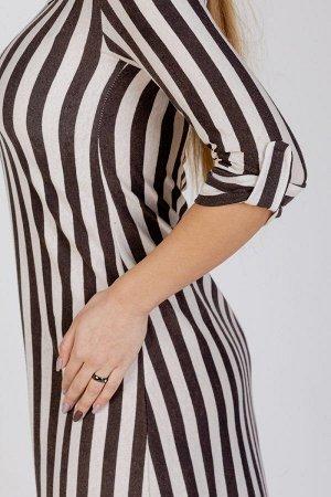 Длинное платье свободного силуэта П 264 (Коричневая полоса)