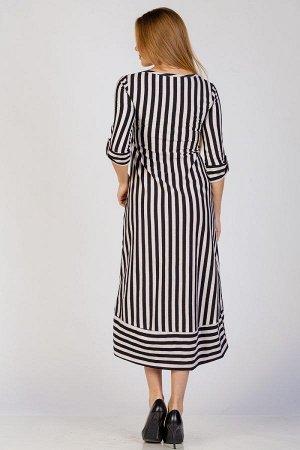 Длинное платье с рукавом П 264 (Черная полоса)