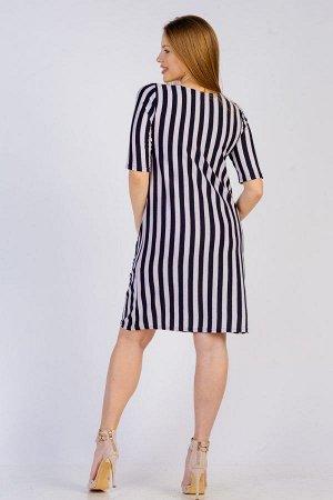 Платье-туника с карманами П 273 (Синяя полоса)