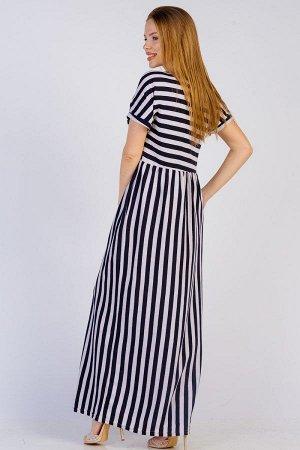 Длинное платье свободного силуэта П 262 (Черная полоса)